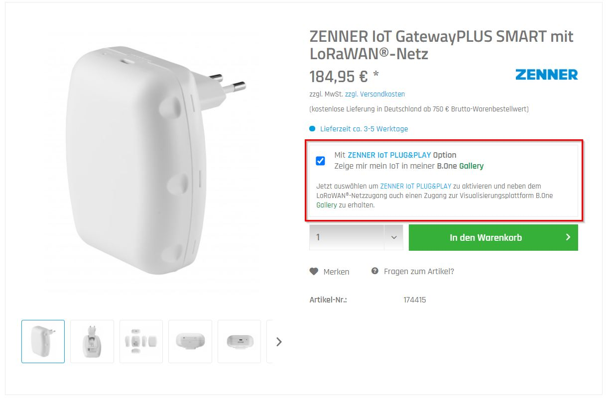 GatewayPLUS SMART im Shop mit ZENNER IoT PLUG&PLAY bestellen
