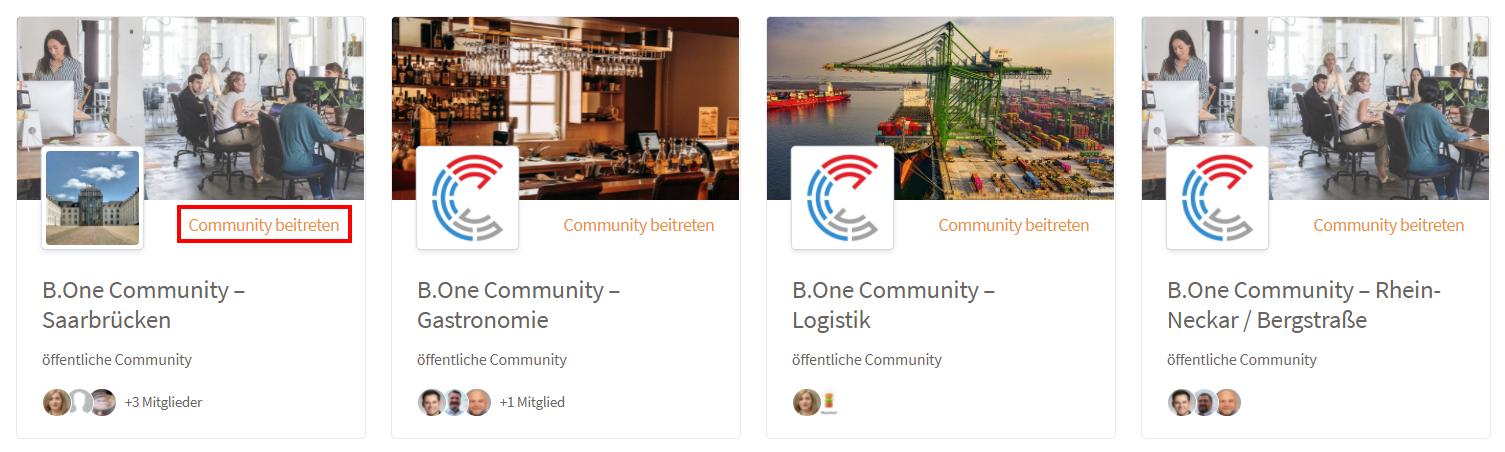 Einer öffentlichen B.One Community beitreten