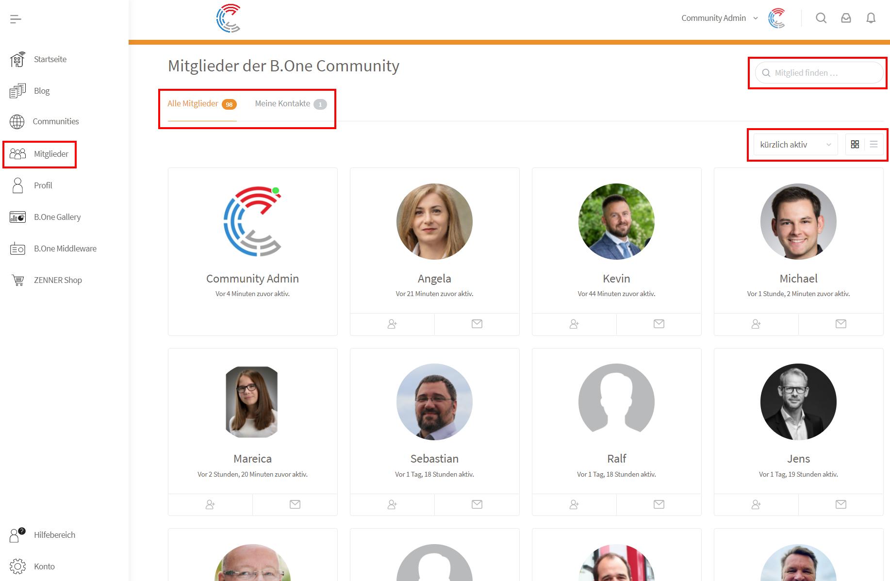 Mitglieder-Bereich der B.One Community