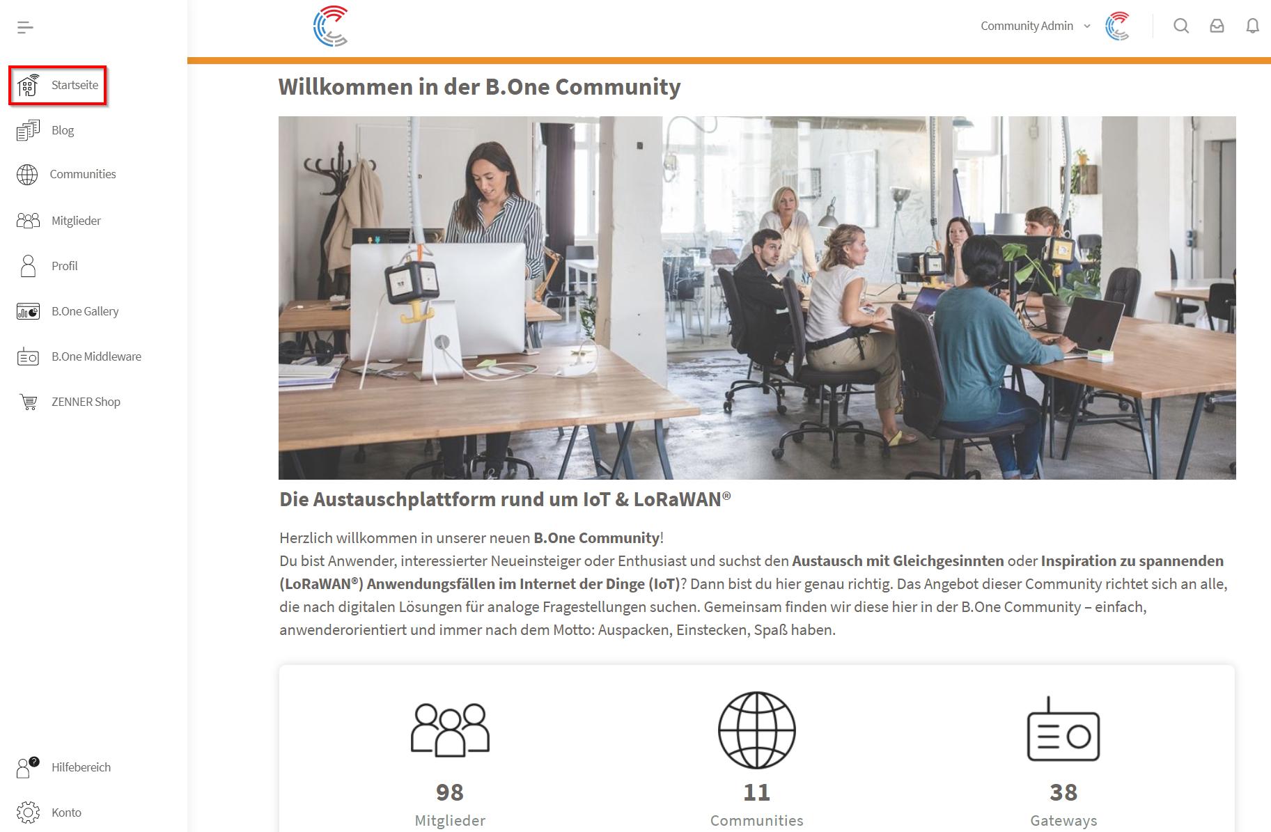 Startseite der B.One Community - Der Austauschplattform rund um IoT & LoRaWAN