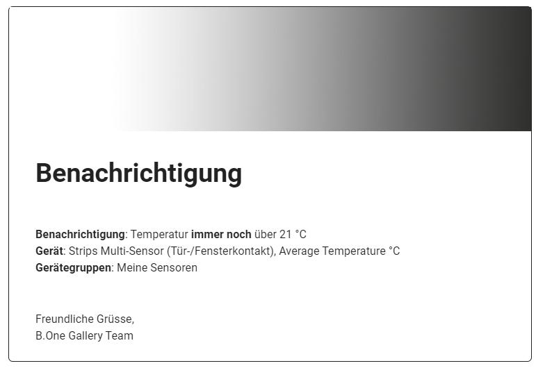 E-Mail-Benachrichtigung kritischer Temperaturveränderungen der B.One Gallery